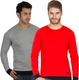 Rigo Solid Men's Round Neck Grey, Red T-...