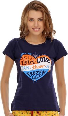 Clovia Graphic Print Women's Round Neck Blue T-Shirt