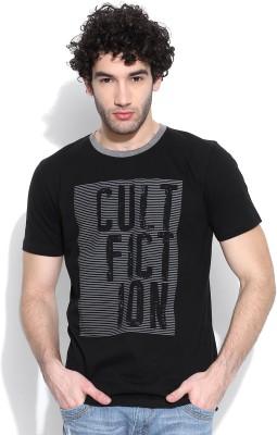 Cult Fiction Graphic Print Men's Round Neck Black T-Shirt