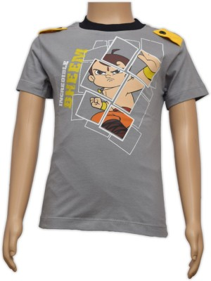 Chhota Bheem Printed Boy's Round Neck Grey T-Shirt