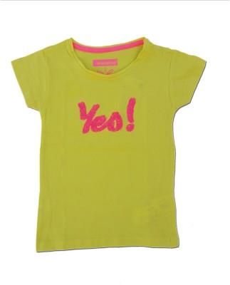 Kuddle Kid Printed Baby Girl's Round Neck Yellow T-Shirt