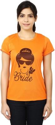 LetsFlaunt Printed Women's Round Neck Orange T-Shirt