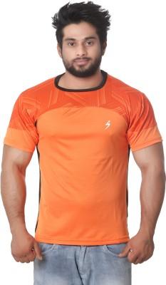 Stylar Graphic Print Men's Round Neck Orange T-Shirt