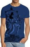 ANGI Graphic Print Men's Round Neck Blue...