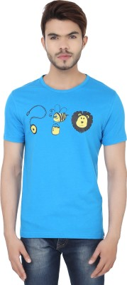Jhingu Printed Men's Round Neck Blue T-Shirt