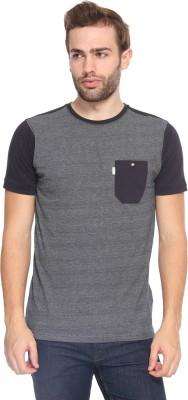 883 Police Self Design Men's Round Neck Blue T-Shirt