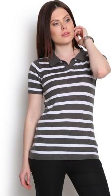 Manola Striped Women's Flap Collar Neck Grey T-Shirt