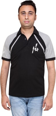 HIRA FASHION WEAR Solid Men's Polo Neck Black T-Shirt