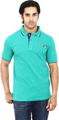 Stackia Solid Men's Polo Neck Green T-Shirt