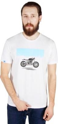 Threads & Pals Printed Men's Round Neck White T-Shirt