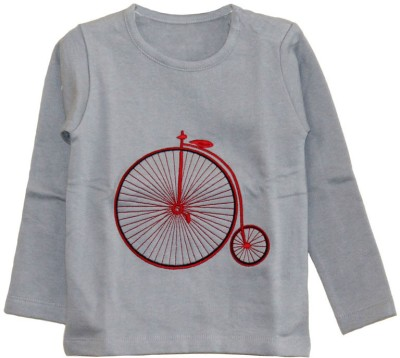 My Little Lambs Solid Boys Round Neck Grey T-Shirt