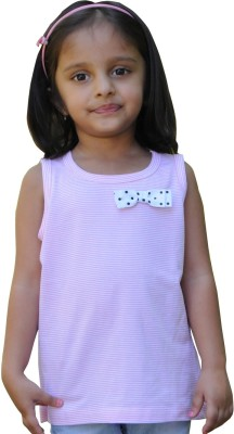 Snowflakes Striped Girl's Round Neck Pink, White T-Shirt