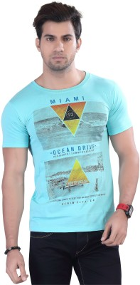 Contrast Graphic Print Men's Round Neck Light Blue T-Shirt