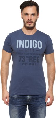 Pepe Printed Men's Round Neck Blue T-Shirt