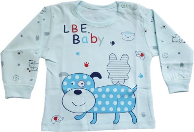Upside Down Animal Print Baby Girl,s, Baby Boy's Round Neck Light Blue T-Shirt