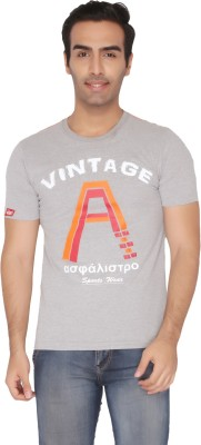 Again Vintage Printed Men's Round Neck Grey T-Shirt