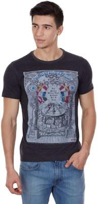 Cloak & Decker Printed Men's Round Neck Grey T-Shirt
