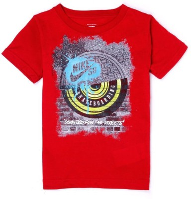 Nike SB Graphic Print Boy,s Round Neck Red T-Shirt