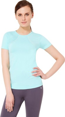 Amante Sports Short Sleeve Solid Women's Light Blue Top