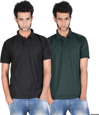 Whistle Solid Men's Polo Neck Black, Dark Green T-Shirt