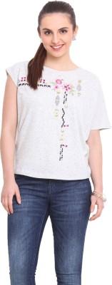 RSVP Cross Printed Women's Round Neck White T-Shirt