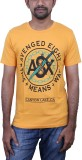 Caddo Printed Men's Round Neck Yellow T-...