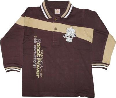 Cotlor Self Design Boy's Polo Brown T-Shirt