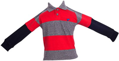 Parv Collections Striped Baby Boy,s Polo Neck Red T-Shirt