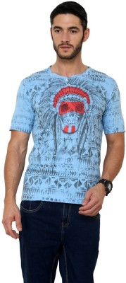 Era of Attitude Printed Men's Round Neck Blue T-Shirt