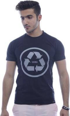 Urban Flux Printed Men's Round Neck Black T-Shirt