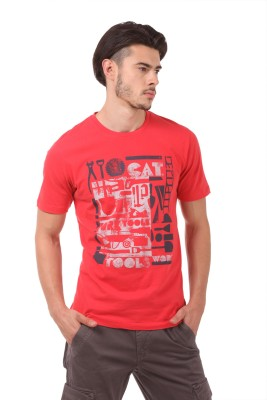 CAT Printed Men's Round Neck Red T-Shirt