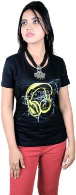La Graphic Print Women's Round Neck Black T-Shirt