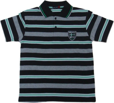 Miracle Striped Men's Polo Neck Multicolor T-Shirt