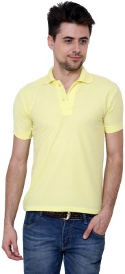 Grand Bear Solid Men's Polo Neck Gold T-Shirt