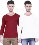 Unkonventional Solid Men's V-neck Maroon...