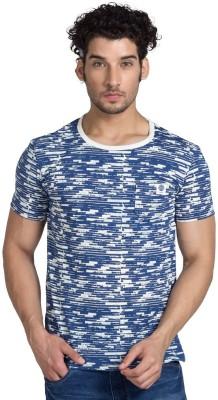 YOO Striped Men's Round Neck Blue T-Shirt