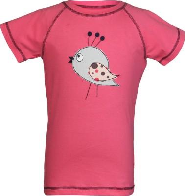 Nino Bambino Embroidered Girl's Round Neck Pink T-Shirt