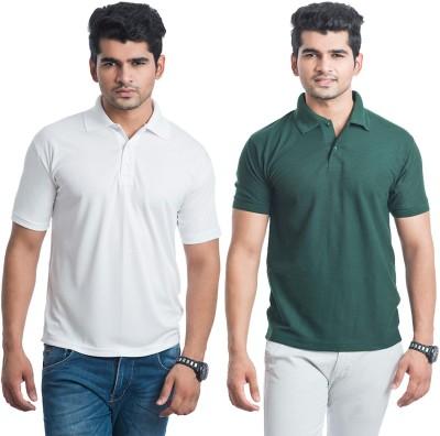 Eprilla Solid Men,s Polo Neck White, Dark Green T-Shirt