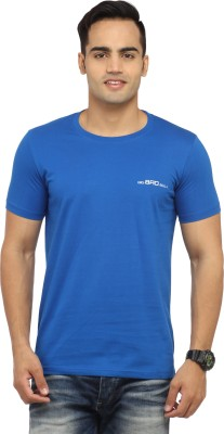 BBB Solid Men's Round Neck Blue T-Shirt