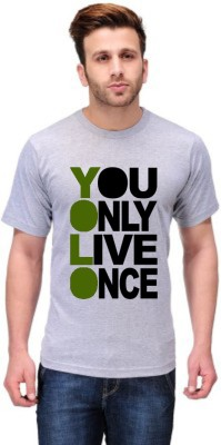 Andshand Graphic Print Men,s Round Neck Grey T-Shirt
