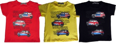 OneLook Printed Boy's Round Neck Black, Red, Yellow T-Shirt