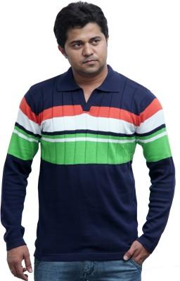 Globy Striped Men's Polo Black T-Shirt