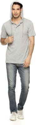 Being Crazy Solid Men,s Hooded Grey T-Shirt