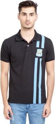 Manchester City FC Printed Men's Mandarin Collar Black T-Shirt