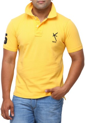 Yross Solid Men's Polo Neck Gold T-Shirt