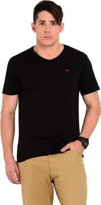 Sting Solid Men's V-neck Black T-Shirt