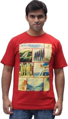 Romano Printed Men's Round Neck Red T-Shirt