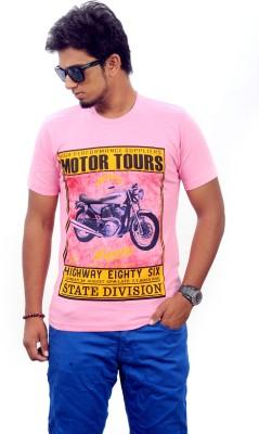 Stylefox Graphic Print Men's Round Neck Pink T-Shirt