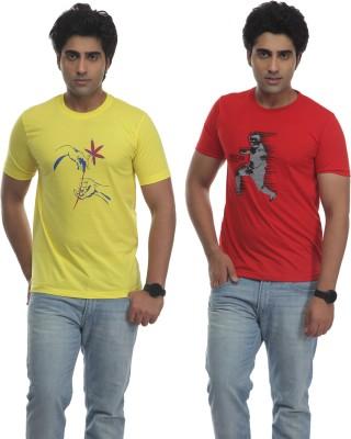 TT Printed Men's Round Neck Reversible Yellow, Red T-Shirt