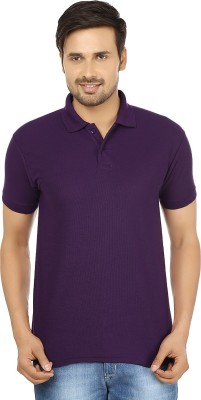 Forever19 Solid Men's Polo Neck Purple T-Shirt